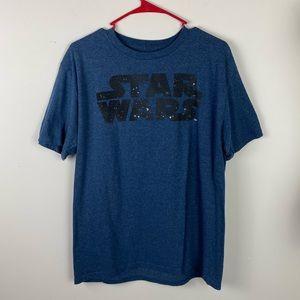 STAR WARS blue logo shirt men's large